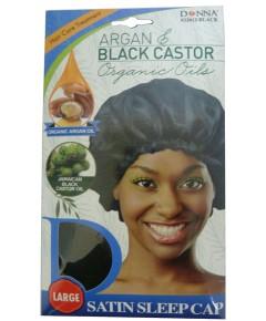 Titan Argan And Black Castor Satin Sleep Cap 22612 Black